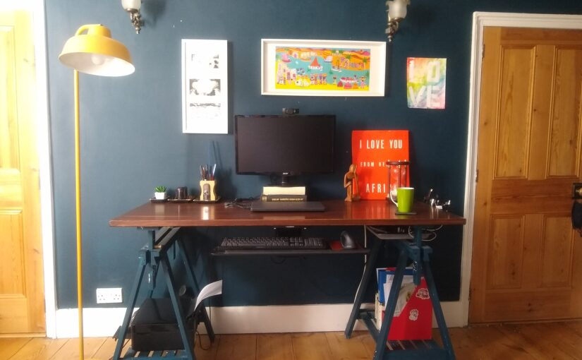 Home office or writing room setup for extra tall person